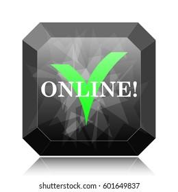 Online icon, black website button on white background.