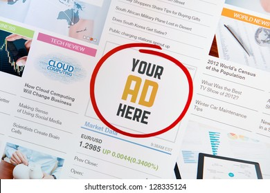 """Online internet banner with text """"YOUR AD HERE"""" on a web page. Web page with all pictures and informations are created by contributor himself."""