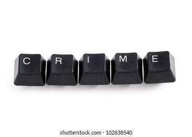 online internet cyber computer crime concept keyboard keys on white