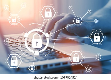 Online internet secure payment and network safe communication and banking concept. Person pay in web via computer. Locks and padlocks on diagram.