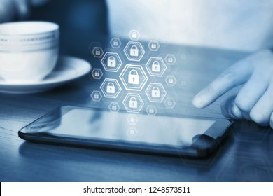 Online internet secure payment and network safe communication and banking concept. Person pay in web via computer. Locks and padlocks on diagram. Encryption of private connection.