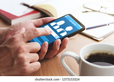 Online job search concept. Using smartphone and app.
