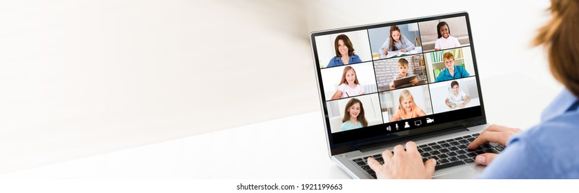 Online Learning Class With Teacher. Children Video Conference