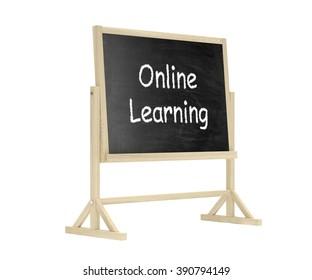 Online learning concept. Blackboard, chalkboard isolated on white