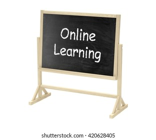 Online learning concept. Blackboard, chalkboard isolated on white. 3d rendering.