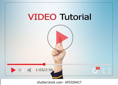 online learning concept.Video tutorial