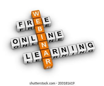 online learning webinar  (orange-white crossword series)