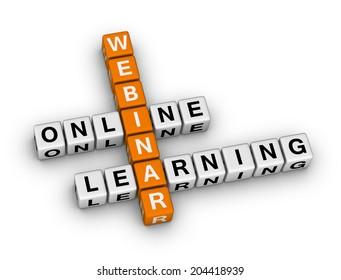 online learning webinar (orange-white crossword puzzles series)