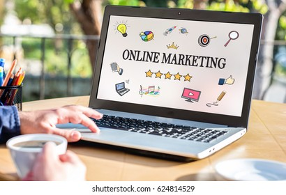 Online Marketing Concept With Various Hand Drawn Doodle Icons On Laptop Monitor