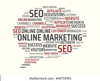 - ONLINE MARKETING - image with words associated with the topic ONLINE MARKETING, word, image, illustration