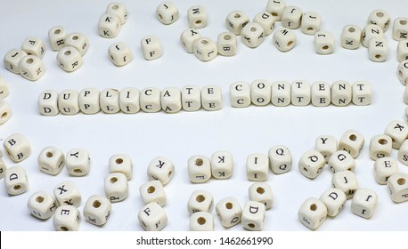 online marketing term on white background wooden abc duplicate content