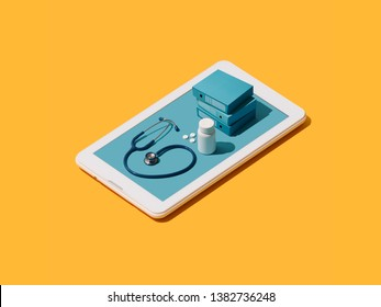 Online medical app on a smartphone: doctor healthcare equipment and prescription medicine on a touch screen smartphone