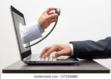 Online medical consultation and Telemedicine. Online doctor medical concepts.