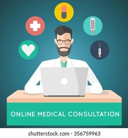 online medical consultation. treatment via internet doctor illustration