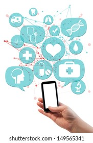 Online medical or pharmacy business template./ Hand holding mobile/cell phone, light blue transparent beveled bubbles/buttons floating of it with medical icons