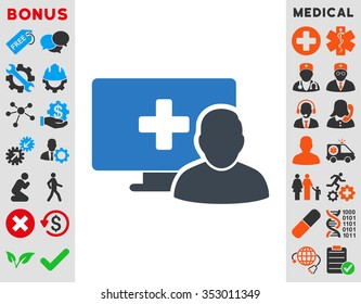 Online Medicine glyph icon. Style is bicolor flat symbol, smooth blue colors, rounded angles, white background.
