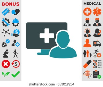 Online Medicine glyph icon. Style is bicolor flat symbol, soft blue colors, rounded angles, white background.
