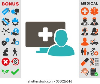 Online Medicine glyph icon. Style is bicolor flat symbol, grey and cyan colors, rounded angles, white background.