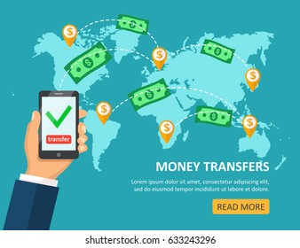 Online money transfer concept with male hand holding smart phone with dollar bills above on map background. Modern flat design concepts for web banners, websites,  illustration.