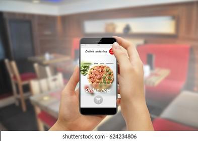 Online ordering food takeaway app in a smartphone screen