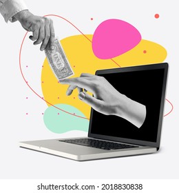 Online payments. Male hands passing money sticking out of laptop screen over colored background. Contemporary art collage. Concept of online trades, sales, teleworking. Copyspace for ad, offer