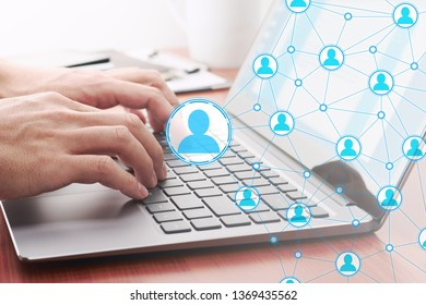 Online people network structure. Using internet for communication. 
