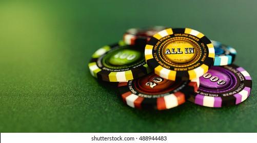 Online poker chips or online gambling 3D illustration.