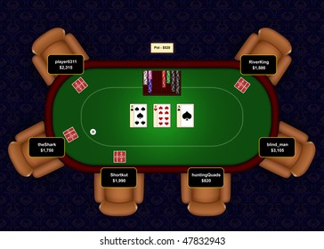 Online poker table with flop revealed in a game of Texas Hold 'Em