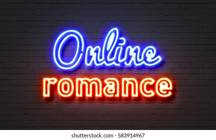 Online romance neon sign on brick wall background