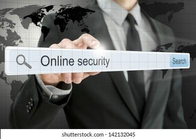 Online security written in search bar on virtual screen.