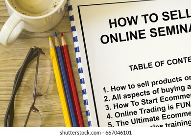Online selling and buying workshop seminar - with contents of seminar.