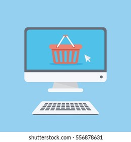 Online shop concept. E-commerce. Computer with basket icon and cursor on the screen.