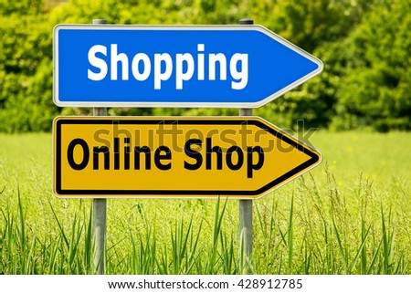 7fcbba1f385 Online Shop Shopping. Yellow road signs with words Online Shop and blue  arrow highway directions
