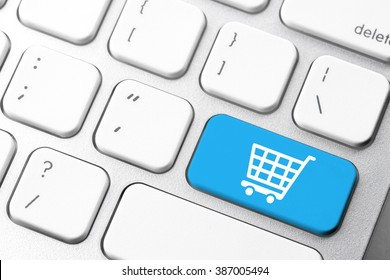 Online shopping cart icon for e-commerce concept