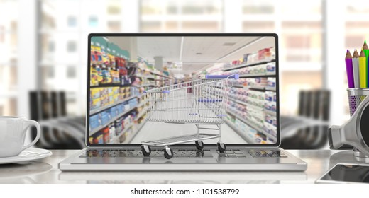 Online shopping. Shopping cart on a computer laptop, on blur office background. 3d illustration