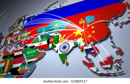 Online Shopping in China Concept world Map 3d Rendering