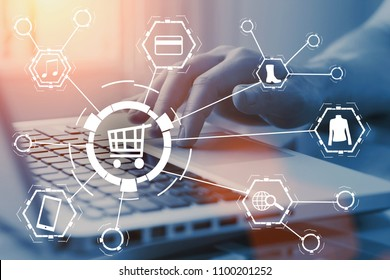 Online shopping concept. Buy products or goods on internet shop. Order and purchase via computer. E-commerce and e-business.