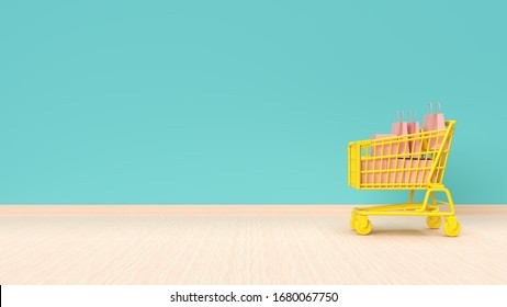 Online shopping concept. Shopping cart with bags and boxes on mint green wall background. 3d illustration.