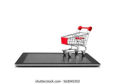 Online shopping concept of shopping cart on digital tablet isolated on white background