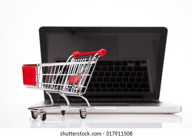 Online shopping concept, Computer background