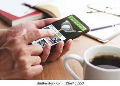 Online shopping concept. Golf shop website on smartphone display.