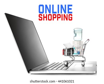 Online shopping concept, laptop with household appliances, isolated on white