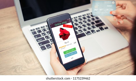 online shopping concept.hands using mobilephone and holding credit card