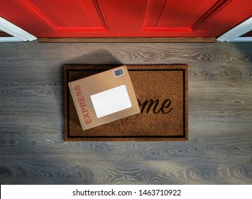 Online shopping express delivery box outside door. Overhead view. Add your own copy and label