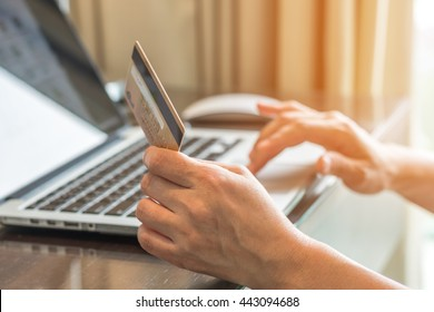 Online shopping or internet bill payment with consumer buyer using credit card paying purchase via digital communication