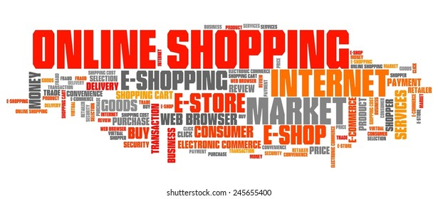 Online shopping - internet concepts word cloud illustration. Word collage.