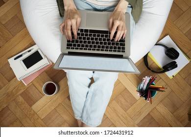 Online shopping, online learning, wark at home. Distance education. Quarantine, self-isolation. Woman look at laptop. Freelancer, Digital nomad concept