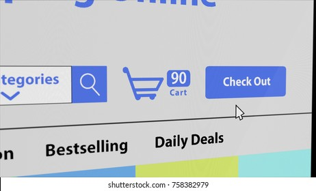 Online shopping website, close-up monitor screen, 3D rendering