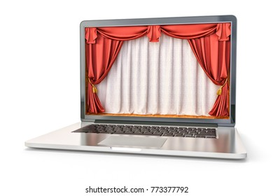 Online show and presentation concept, theater stage interior with red velvet curtains inside laptop's screen, isolated on white, 3d illustration