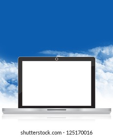 Online and Social Media Concept Present By Realistic Laptop PC With Blank Screen For Your Own Text Message in Blue Sky Background